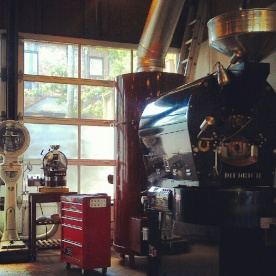 Coffee bean roasting machine at te aro coffee roasters in Leslieville