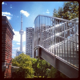 View of the CN Tower from the 2nd floor windows of the AGO