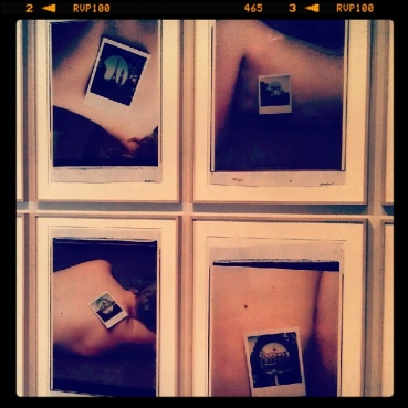 Ian Baxter&'s polaroids on model at the AGO