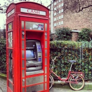 Cash machine and bicycle in Notting Hill