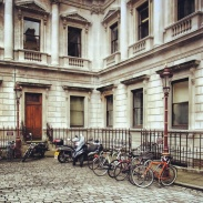Bicycle parking inside the courtyard of the Royal Academy of Arts