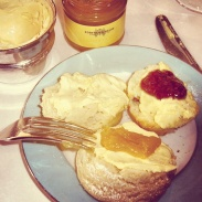 Scones with clotted cream, lemon curd and raspberry jam at Fortnum and Mason