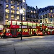 Double decker buses around Trafalgar Square