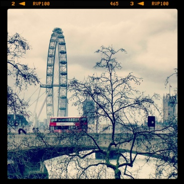View of the Waterloo Bridge and London Eye from Somerset House