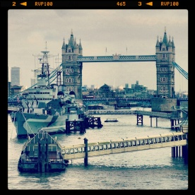 View of Tower Bridge while standing on the London Bridge