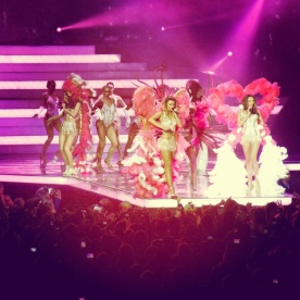 Girls Aloud channeling their inner Victoria's Secret angels for their show