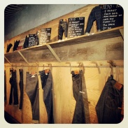 Inside the Levi's store at Union Square - the wall of past Levi's jeans