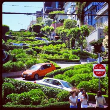 At the base of Lombard Street