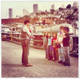 Kids going through boat training at Hyde Street Pier