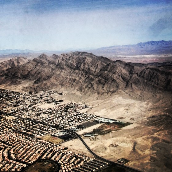 Flying over the outskirts of Las Vegas - beautiful brown earth here we come!