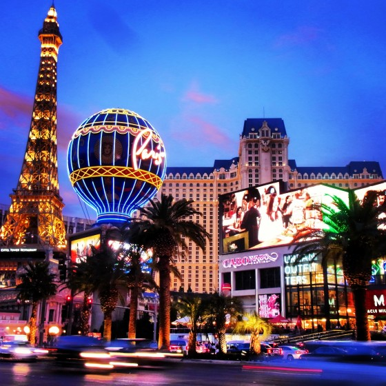 On the Las Vegas Strip - Paris and Planet Hollywood