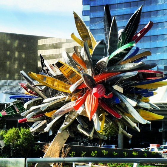 A canoe art piece outside ARIA.