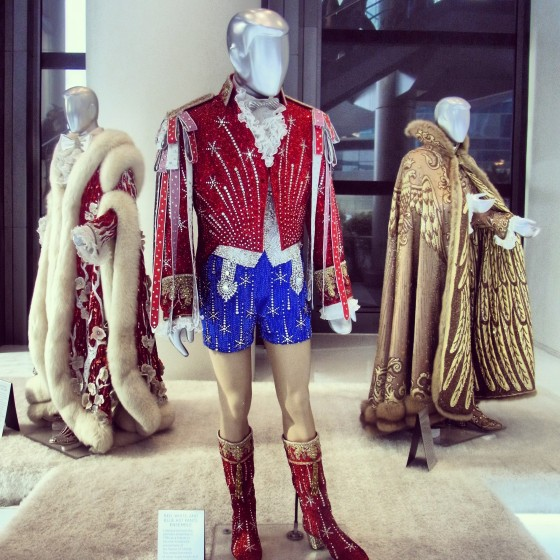 A few of Liberace's stage outfits on display in the Cosmopolitan's exhibit.
