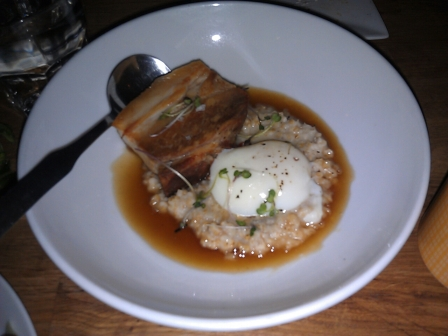 Pork belly with poached egg