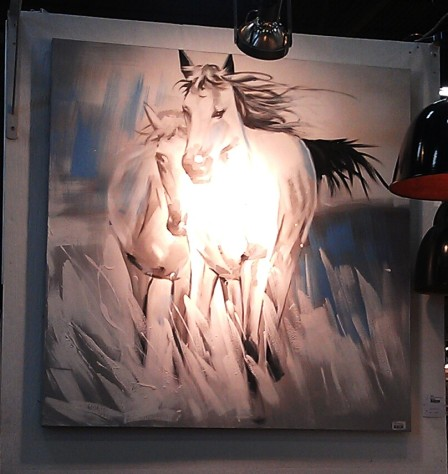 A painting of two horses - very ethereal.