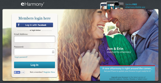 A screenshot of eHarmony's login page.