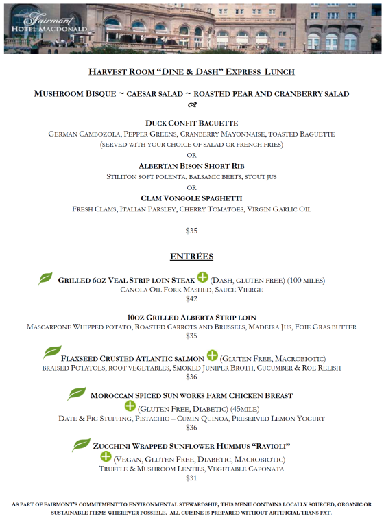 The 2013 lunch menu pulled off of the Harvest Room website.