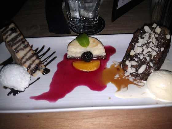 Our treat for the evening. The dessert trio at Moxie's!