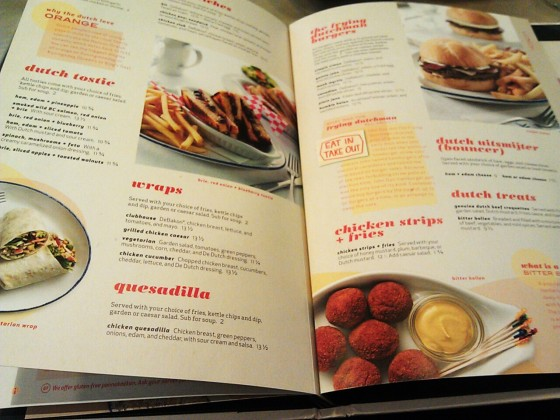 The De Dutch menu - so many choices!