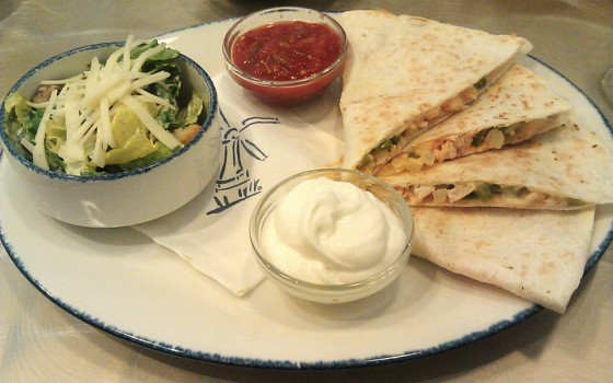 The chicken quesadilla - good, but maybe carry the pancake theme into this dish by using the pannekoeken as the shell instead.
