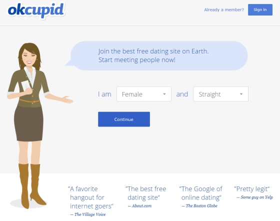 A screenshot of the OkCupid.com on my desktop, which encourages you to start building your profile immediately.