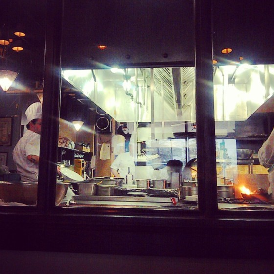 Our view into the kitchen of the Hardware Grill