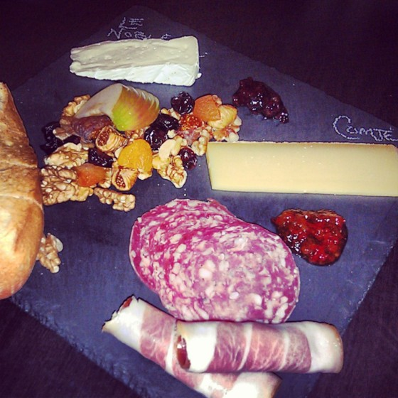 Cheese and charcuterie board #1 - Le Noble and Comte cheeses with genoa salami and Proscuitto di Parma