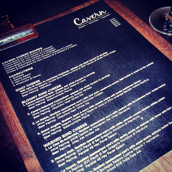 The Cavern's cheese and charcuterie menu