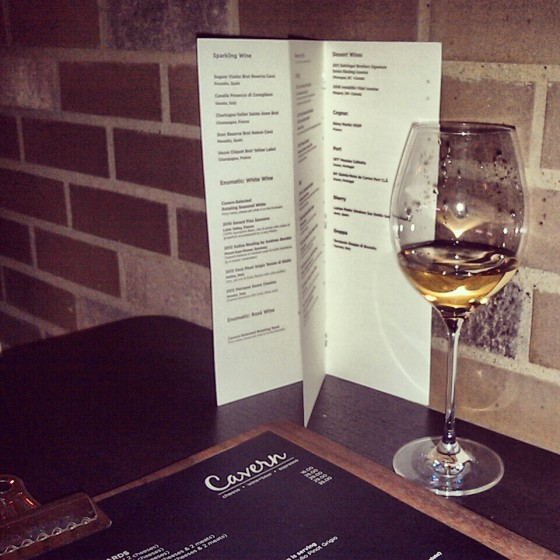 My glass of Riesling next to the wine list