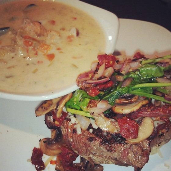 The Grilled New York Steak with a side of Seafood Chowder!