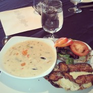 The Boar Belly Chicken Club with the Seafood Chowder