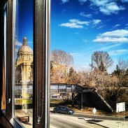 The view of the Legislature building from my seat.