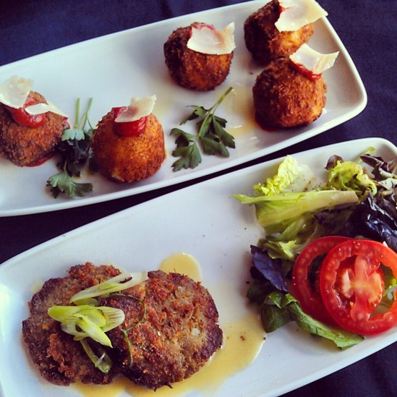 The Mac & Cheese Balls and the Smoked Jalapeno Blue Crab Cake.