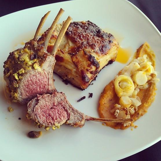 The Pistachio Crusted Rack of Lamb!