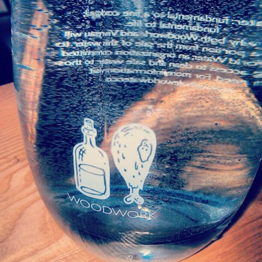 A Woodwork labeled Vivreau water bottle.