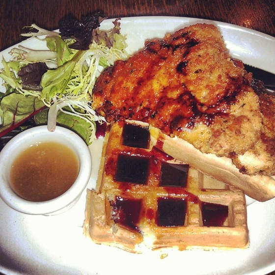 The chicken and waffles from the breakfast menu.