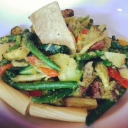 My friend's order of Judy's Thai Green Curry with Tortiglioni.