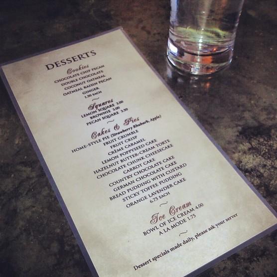 The dessert menu.