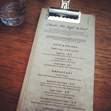 The regular brunch/lunch menu.