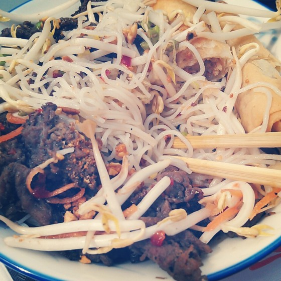 My vermicelli bowl from lunch. This is the only photo I took. I don't know why I didn't take more pictures that day...