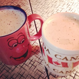 Cups of chai latte to warm us up on a rainy day!