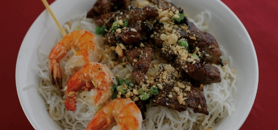A beef and shrimp vermicelli bowl. Photo Credit: Hoang Long website