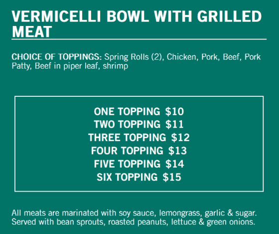 The vermicelli bowl lunch menu.