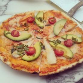 My Spicy Chicken Avocado Pizza.
