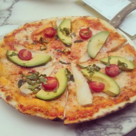 My Spicy Chicken Avocado Pizza.