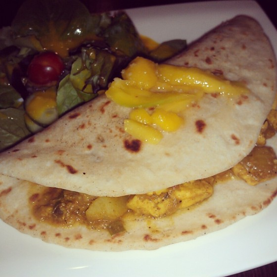 My plate of chicken roti with salad.