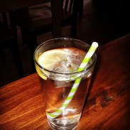 Our water with whimsical paper straws.