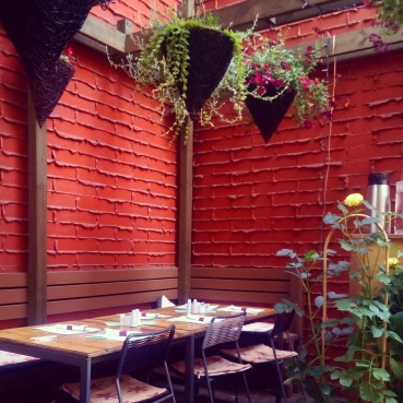 Tables on the patio.