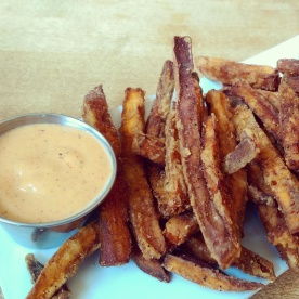 A shared order of sweet potato fries.
