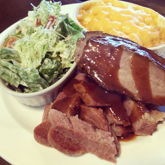 Beef brisket, Montreal smoked meat, Caesar salad and mac & cheese